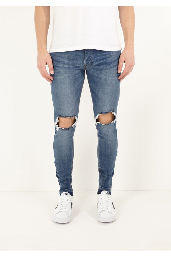 Skinny Washed Jeans Ripped Blue