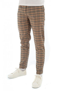 Skinny Check Trousers Rust