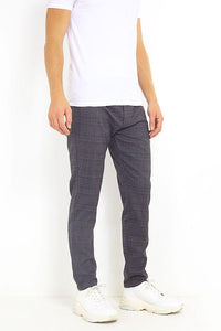 Skinny Check Trousers Charcoal Grey