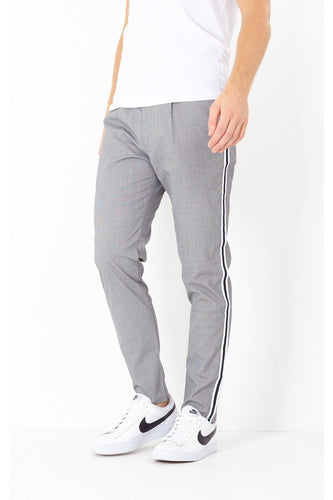 Skinny Check Trousers Stripe Grey