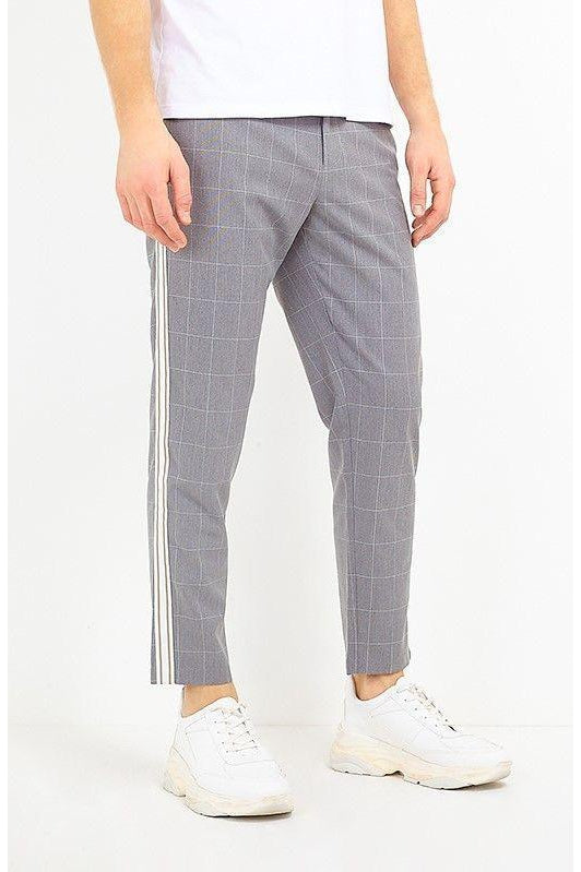 Skinny Window Check Trousers Grey