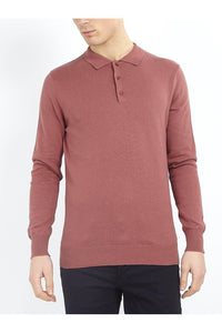 0 Lightweight Knitted Polo Long Sleeve Dusty Pink