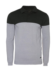 Contrast Knitted Polo Long Sleeve Black Grey