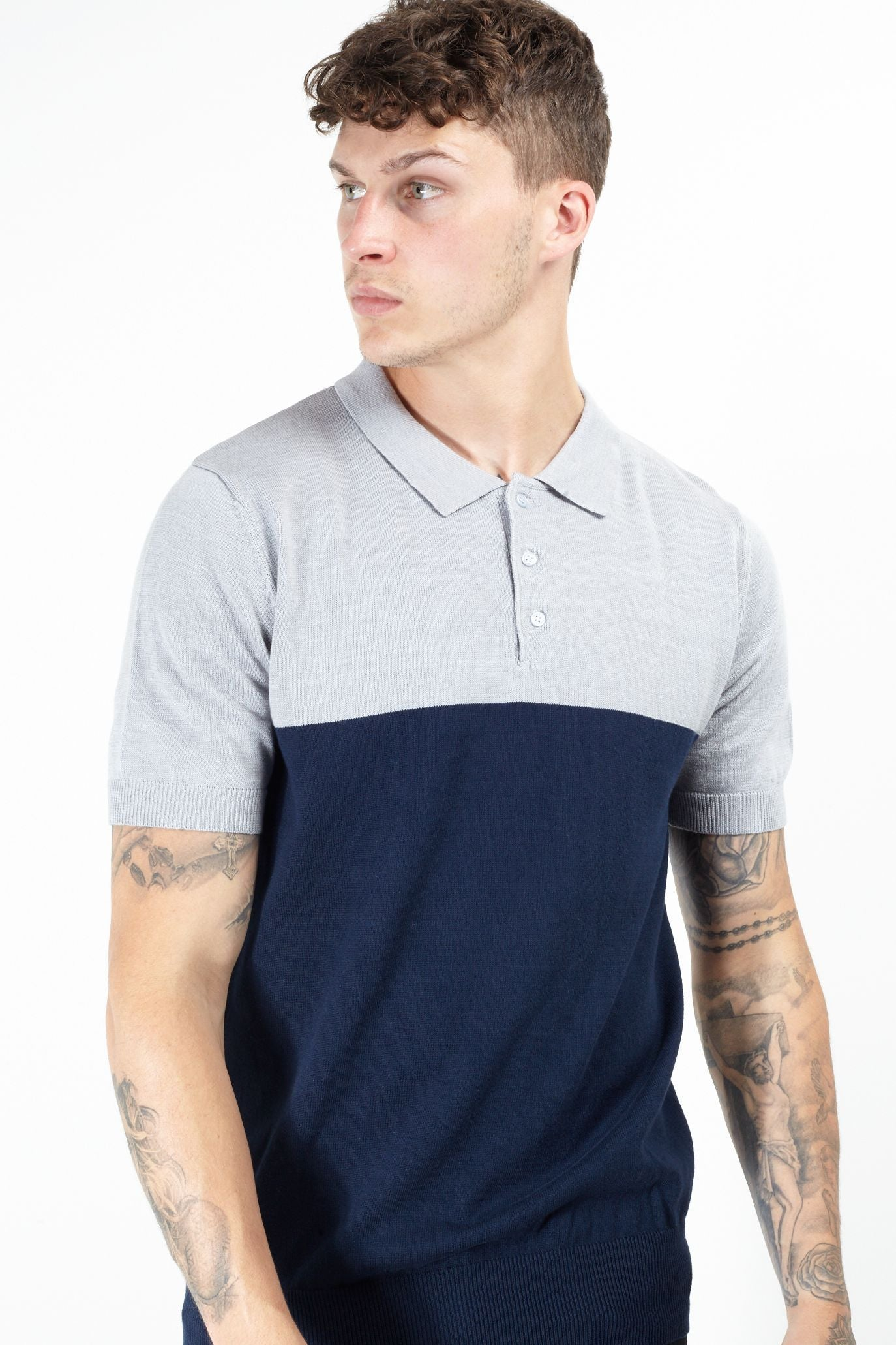 Contrast Knitted Polo Short Sleeve Grey Navy