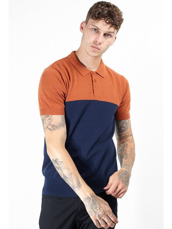 Contrast Knitted Polo Short Sleeve Rust