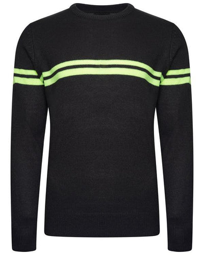 Crew Neon Stripe Knit Charcoal