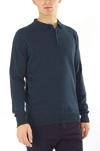 Knitted Polo Long Sleeve Teal