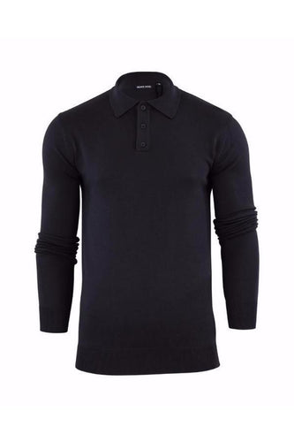 Knitted Polo Long Sleeve Black