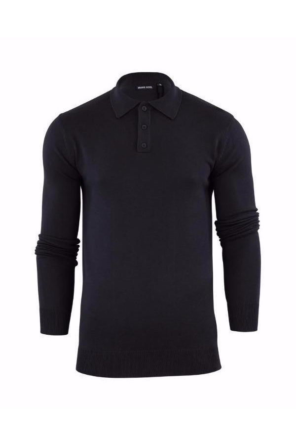 Lightweight Knitted Polo Long Sleeve Black