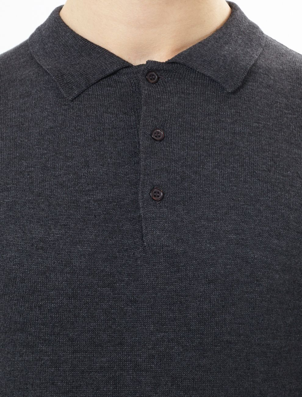 Lightweight Knitted Polo Long Sleeve Charcoal