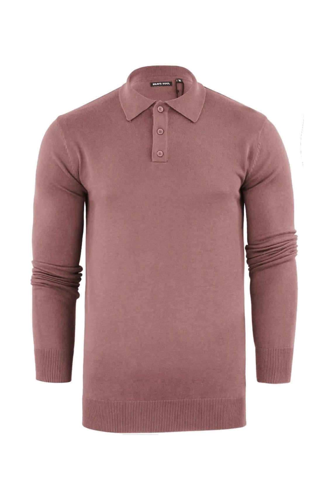 Lightweight Knitted Polo Long Sleeve Dusty Pink