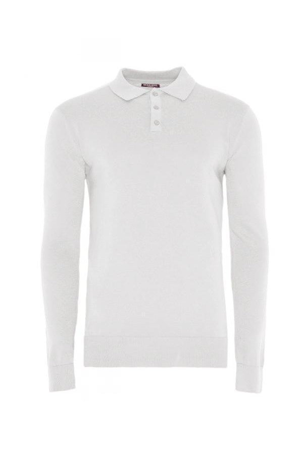 Lightweight Knitted Polo Long Sleeve Grey