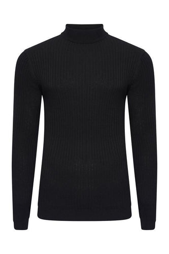 Muscle Fit Ribbed Turtle Knit Black