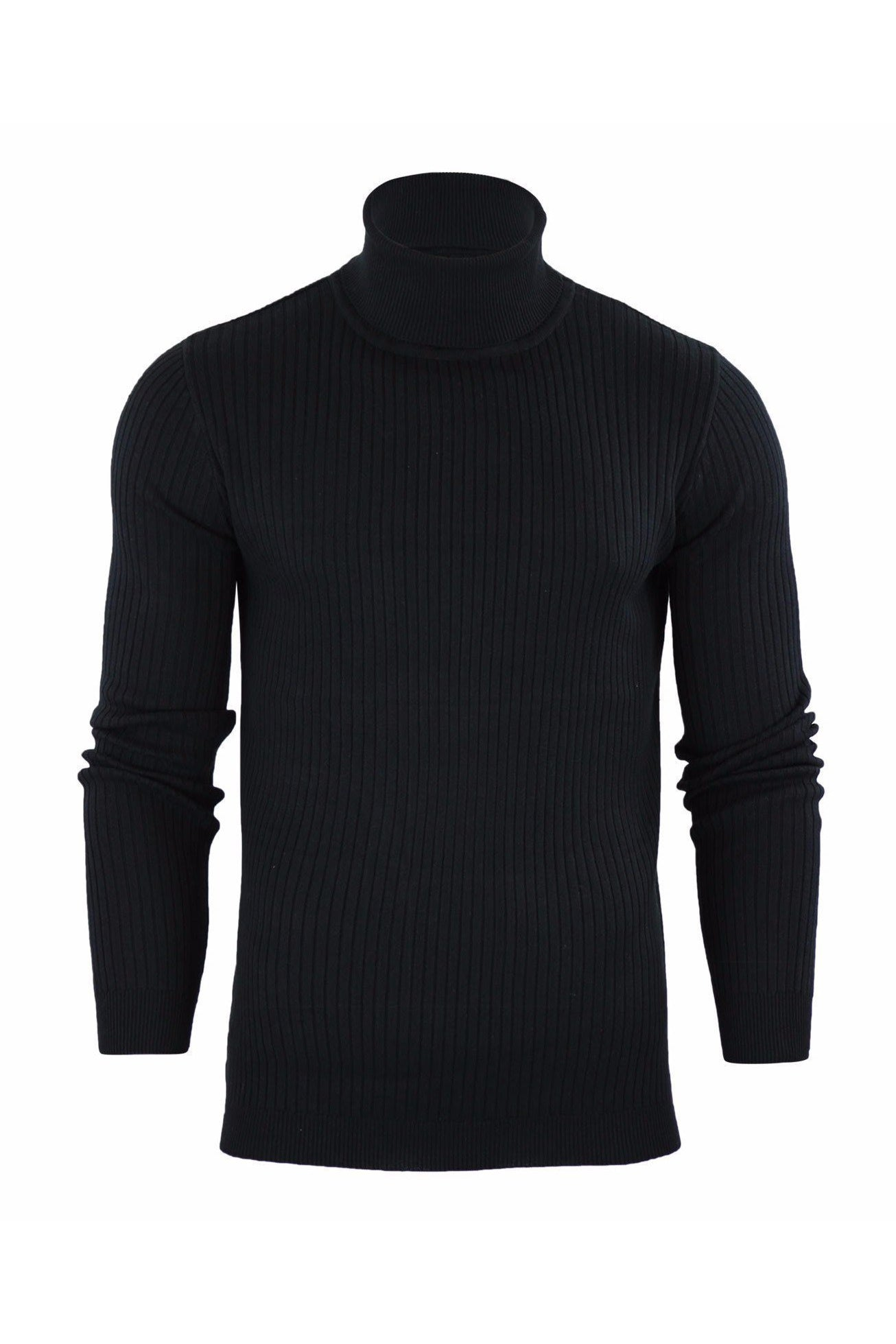 Ribbed Roll Neck Lightweight Knit Black
