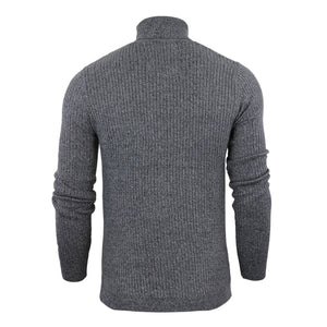Ribbed Roll Neck Lightweight Knit Grey Marl