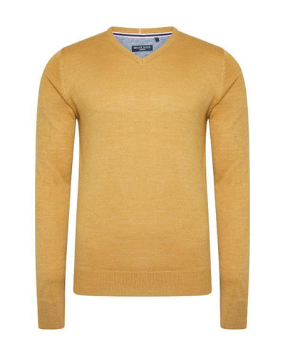V Neck Lightweight Knit Mustard