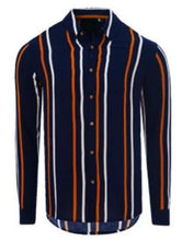 Load image into Gallery viewer, Long Sleeve Stripe Shirt Navy/ Orange