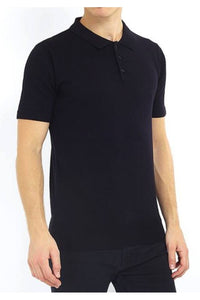Knitted Polo Short Sleeve Black