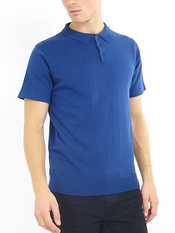 Lightweight Knitted Polo Short Sleeve French Blue