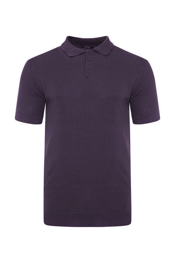 Knitted Polo Short Sleeve Plum