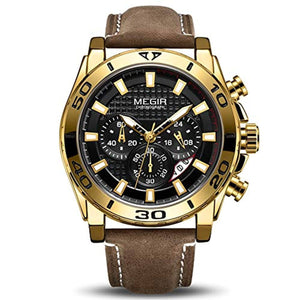 Racing Watch Leather Gold