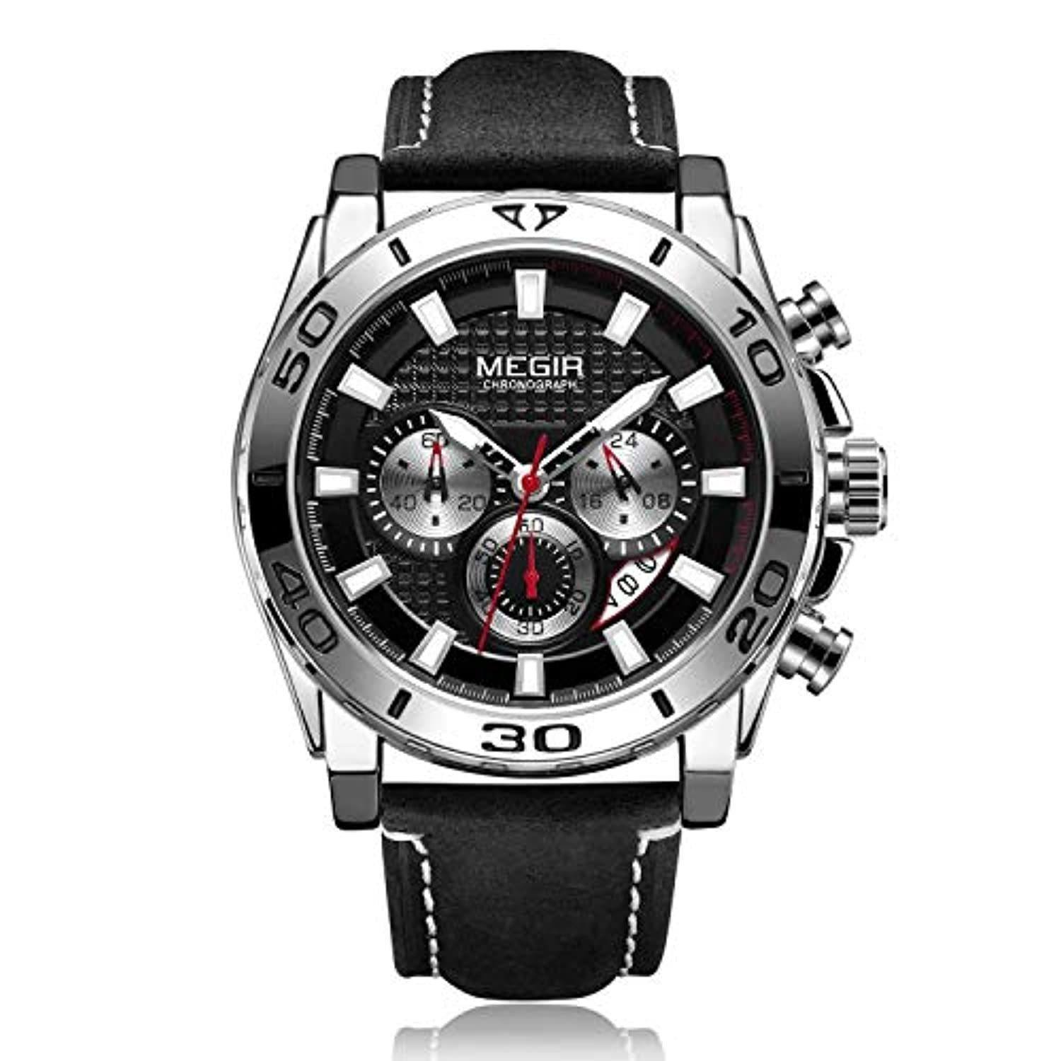 Racing Watch Leather Sliver