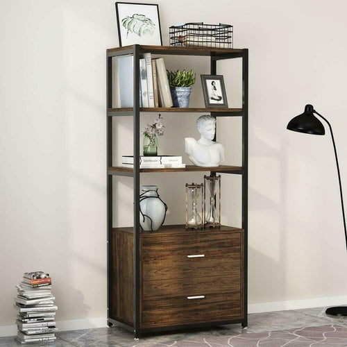 4 Tier Vintage Industrial Bookshelf with Drawers