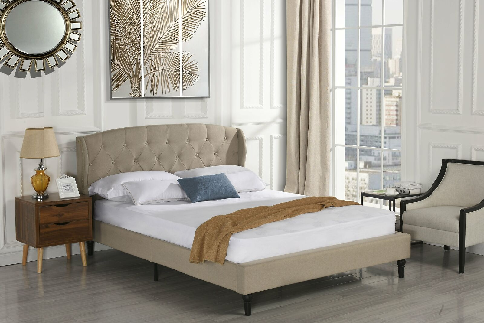 Classic Dark Beige Box-Tufted Shelter Bed (Full Size)