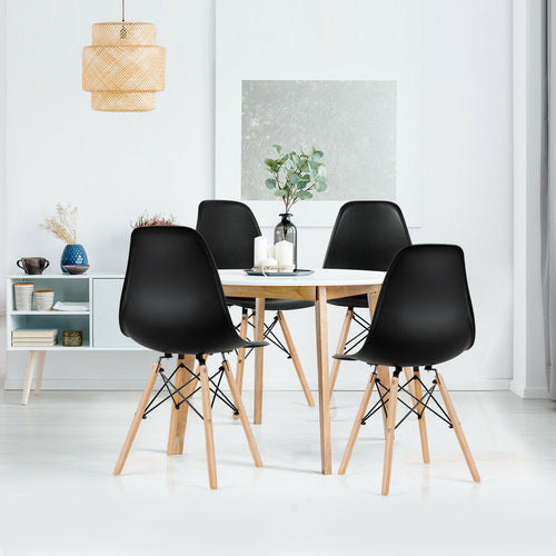 Eames Style Wooden Chairs Black (x4)