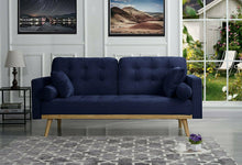 Load image into Gallery viewer, Mid-Century Velvet Sofa Navy