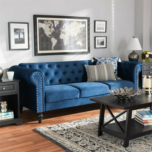 Emma Velvet Chesterfield Sofa Navy