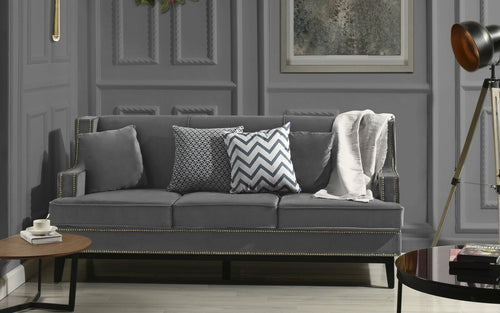 Studded Velvet Sofa Grey