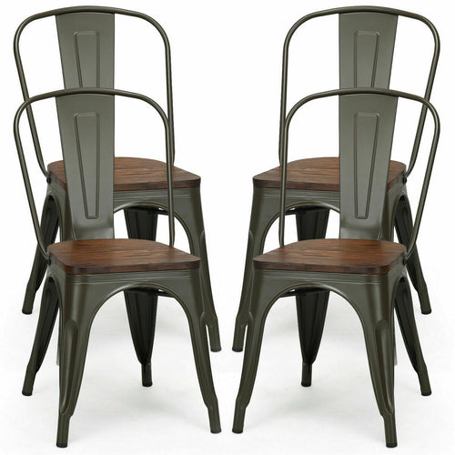Tolix Style Metal Bistro Chairs (x4)
