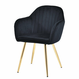 Set of 2 Rocco Velvet Chairs Black
