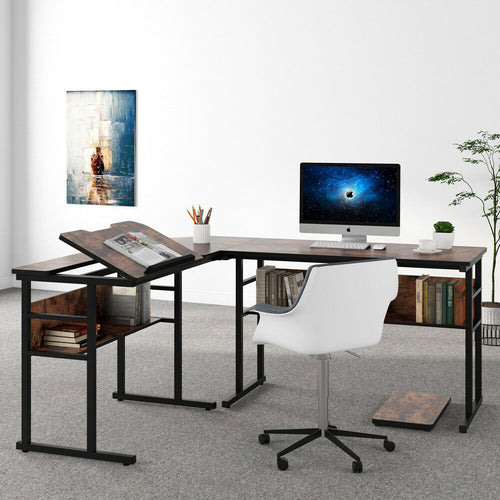 L Shaped Desk With Bookshelf