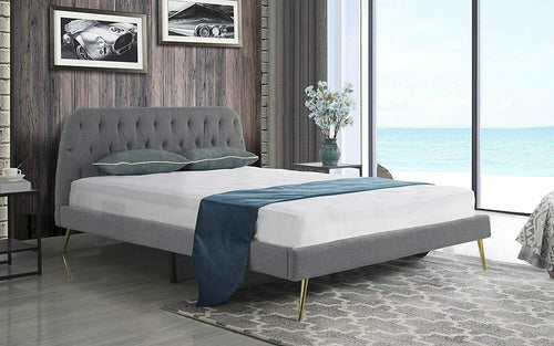 Mid Century Tufted Bed Grey