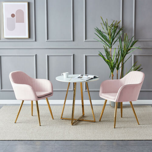 2 Rocco Velvet Chairs Pink