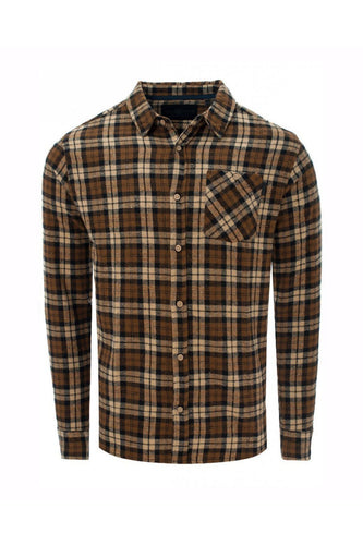 Soft Flannel Shirt Check Brown