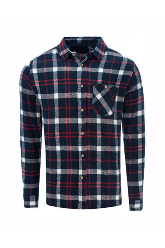 Soft Flannel Shirt Check Navy