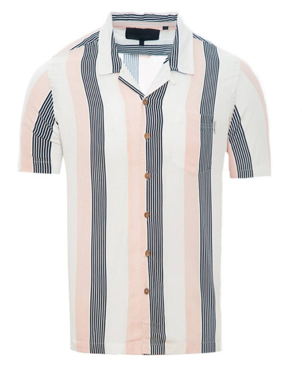 Soft Feel Vertical Stripe Shirt Pink