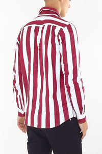 Stripe Shirt Long Sleeve Red