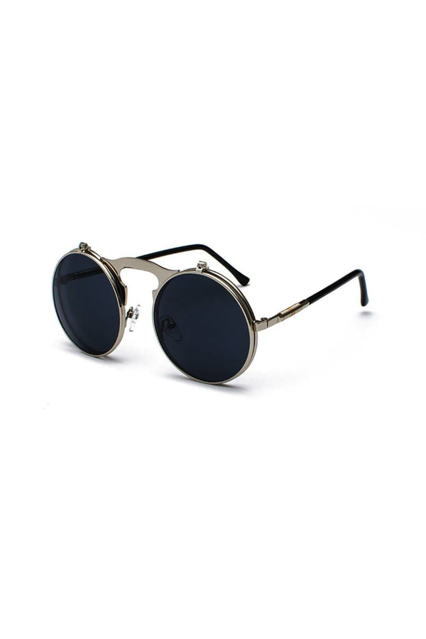 Hinge Round Sunglasses Black