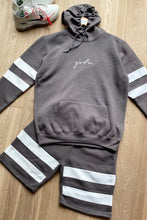 Load image into Gallery viewer, Hoodie & Shorts Set Stripe Ash Grey