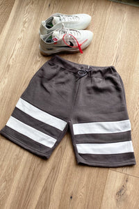 Hoodie & Shorts Set Stripe Ash Grey