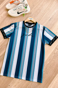 Signature Stripe T-Shirt Navy/ Silver
