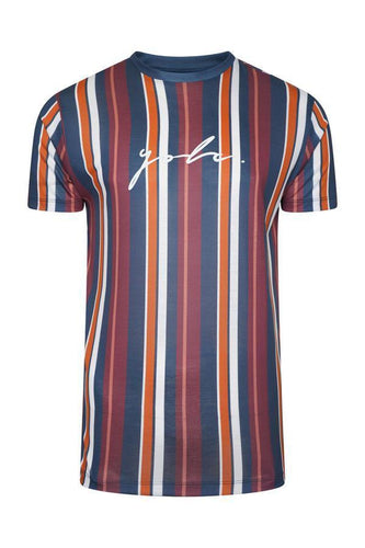 Signature Stripe T-Shirt Burg/ Orange