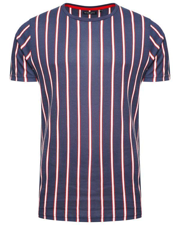 Vertical Stripe T-Shirt Navy/ Red
