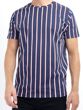 Load image into Gallery viewer, Vertical Stripe T-Shirt Navy/ Red