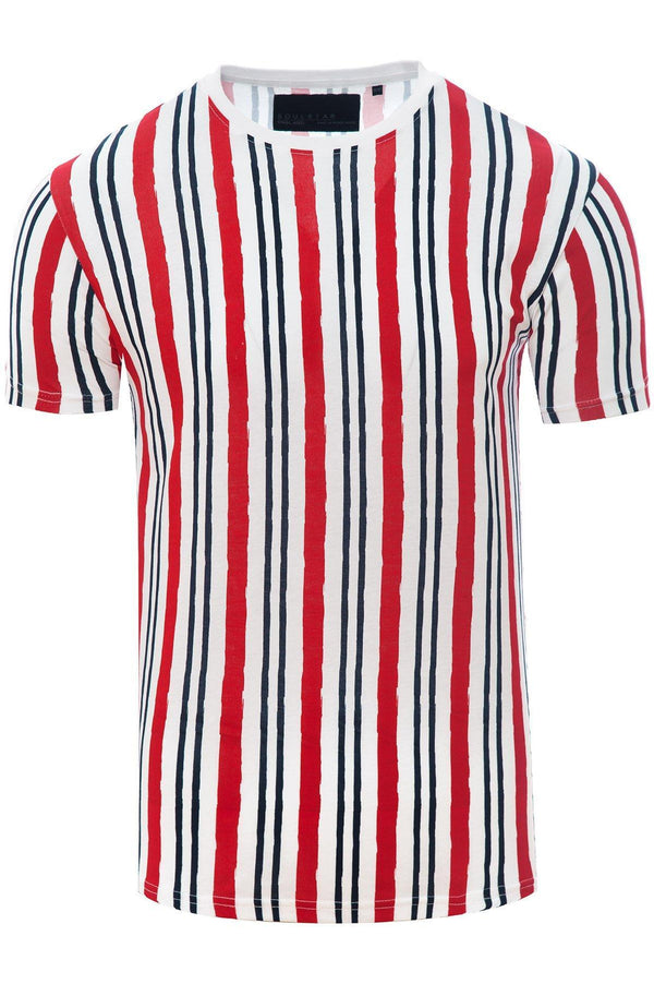 Vertical Stripe T-Shirt White/ Red