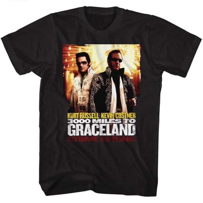 3000 MILES TO GRACELAND-POSTER-BLACK ADULT S/S TSHIRT